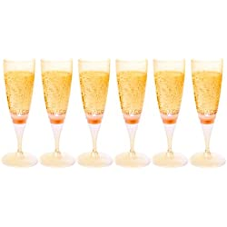 Ivation LED Waterproof Light-Up Champagne Flute Cups - Orange LED Cup