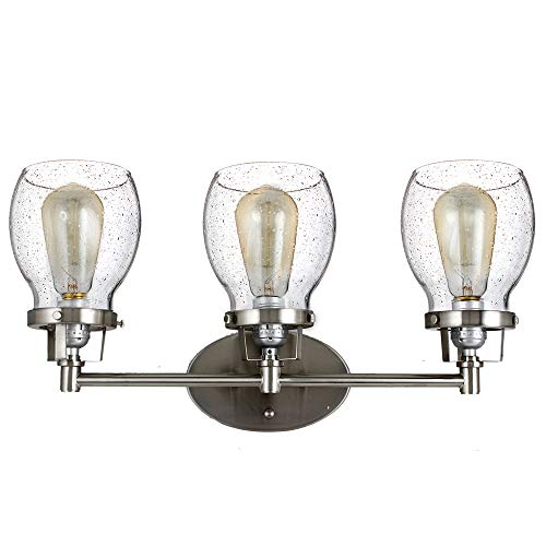 3 Light Vintage Industrial Retro Belton Bathroom Vanity or Wall Light Fixture with Clear Seeded Glass Shades Wall Sconces Lamp (Brush Nickel Finish) -