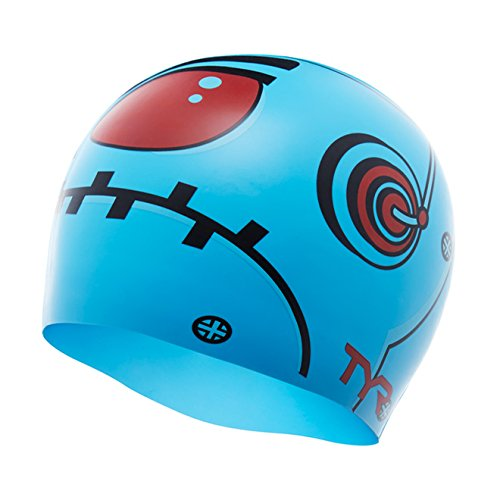 TYR Robot Swim Cap, Blue, One Size