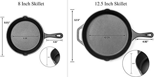 Pre-Seasoned Cast Iron Skillet 2 Piece Set 12.5 inch 8 inch Pans Best Heavy Duty Professional Restaurant Chef Quality Pre Seasoned Pan Cookware Set – Great For Frying, Saute, Cooking Pizza More