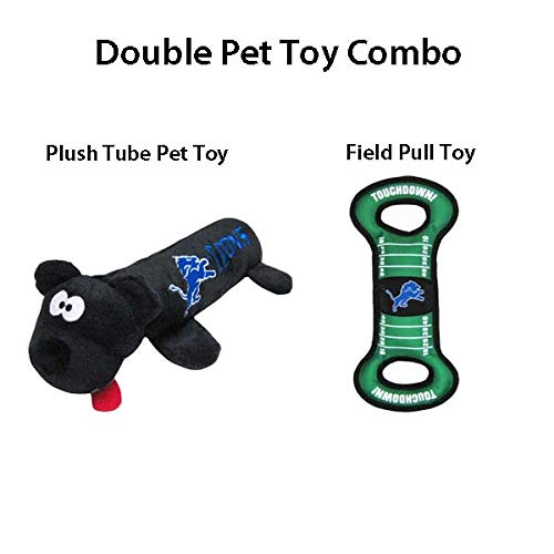 Detroit Lions Combo Dog Pet Plush Tube Toy and Dog Pet Field Pull Toy for 2 Dog Toys! -
