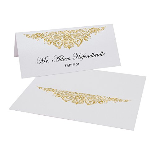 Documents and Designs Paisley Easy Print Place Cards, Gold, Set of 150 (25 Sheets) (Best Indian Wedding Card Designs)
