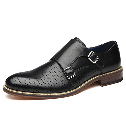 Black Leather Casual Oxfords - La Milano Men's Double Monk Strap Slip On Loafer Leather Oxford Plain Toe Classic Casual Comfortable Dress Shoes for Men