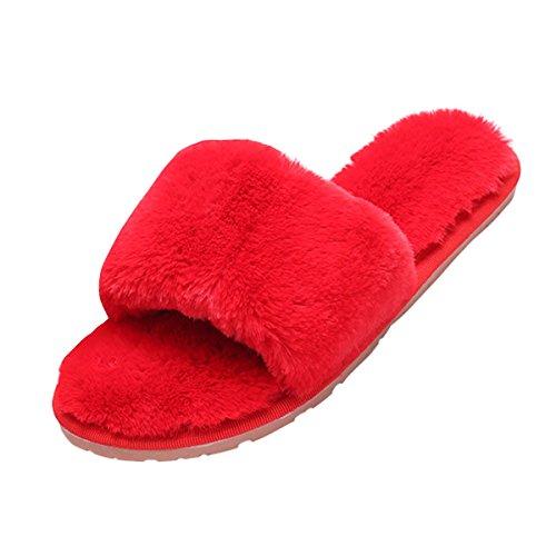 VFDB Thong Slide Indoor Home Slipper Fleece Flat Flip Flop House Slip On Sandals Large