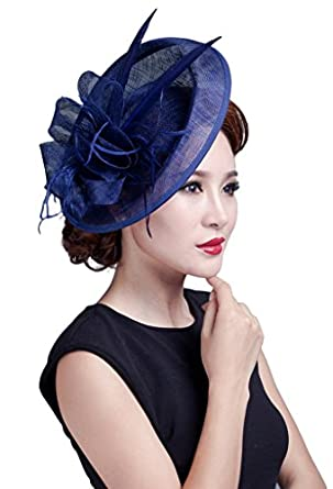 La Vogue Ladies Large Feather Fascinators Sinamay Hats Vintage Hair  Accessories Light Royal Blue 47304432232