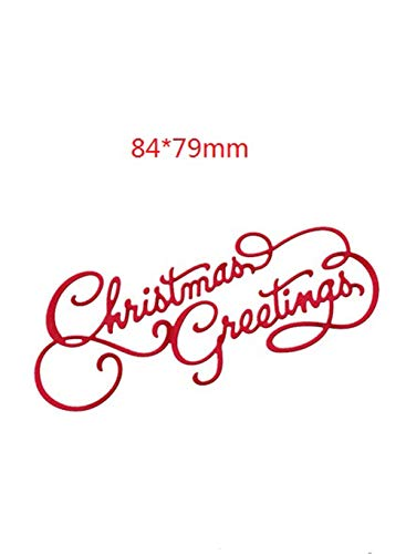 Fangfang Merry Christmas Happy New Year Metal Cutting Dies Festival Greeting Words DIY Scrapbooking Stencil Card Making Embossing Paper for Christmas Decoration (Style 1) (Greeting Words For Christmas & New Year)