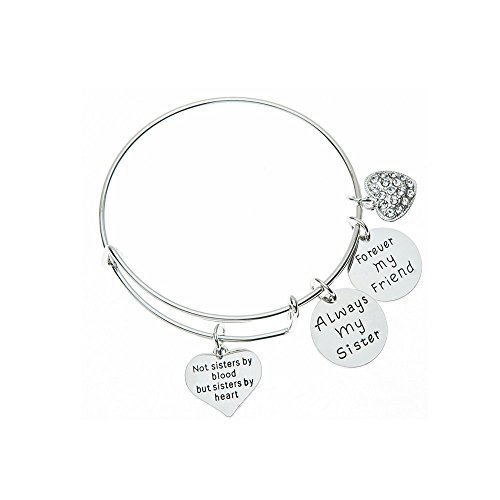 Friends Forever Heart - Infinity Collection Best Friends Bracelets- Not Sisters by Blood But Sisters by Heart Bracelet- Always My Sister, Forever My Friend Jewelry- Gift for Friends
