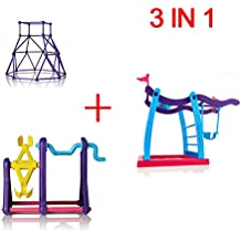 Set of 3 Finger Monkey Playset Baby Monkey Swing Set + Monkey Seesaw + Purple Jungle Gym Climbing Stand by Arute