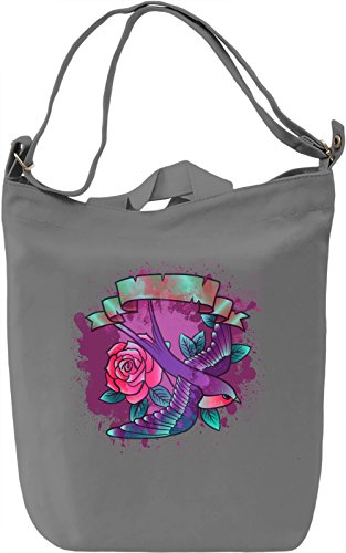 Swallow And Roses Borsa Giornaliera Canvas Canvas Day Bag| 100% Premium Cotton Canvas| DTG Printing|