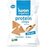 iwon organics Sea Salt Flavor Snack Chips, High Protein and Organic, 8 Bags, 1.5 Ounce