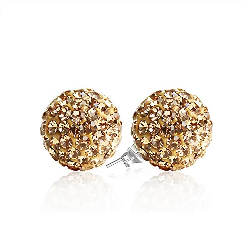 BAYUEBA 925 Sterling Silver Crystal Ball Stud Earrings 10mm Light Golden