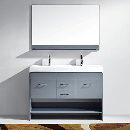 Virtu USA MD-423-C-GR-001 GLORIA 48' Double Bathroom Vanity with White Ceramic Top and Square Sink with Brushed Nickel Faucet and Mirror, Grey