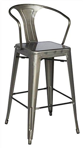 Chintaly Imports 8020 Galvanized Steel Bar Stool with 4 Stylish Colors, Gun Metal Review