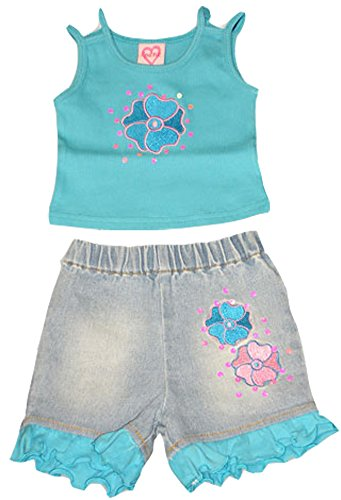 Lipstick - Infant Baby Girls Short Set, Turquoise, Pink, Denim 7161-6-12Months