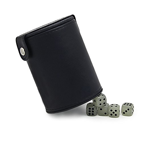 Leather Dice Cup Combo with 5 Luminous Dice,Bidear Green Felt Lined Dice Cup with Lid and Storage Endothecium for KTV/Bar/Party/Casino/Club