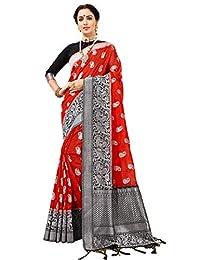 Elina fashion Sarees for Women Banarasi Art Silk Silver Zari Saree l Diwali Gift Sari with Unstitched Blouse