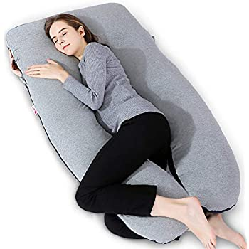 LodeStar Pregnancy Pillow U-Shape Full Body Pillow Maternity Support for Back Neck Belly Leg Hips Detachable Extension Pregnant Women Cushion Green