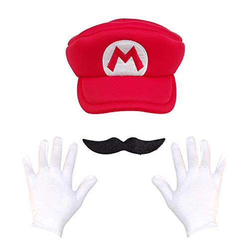 Super Maryo Brothers Cosplay Hats Wario Luigii Waluigi Caps for Adult Kids (One Size, Unique-Red-2)