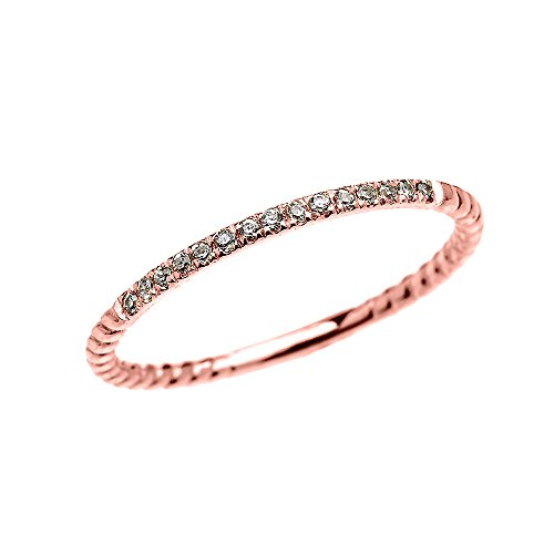 14k Rose Gold Dainty Diamond Stackable Rope Design Ring