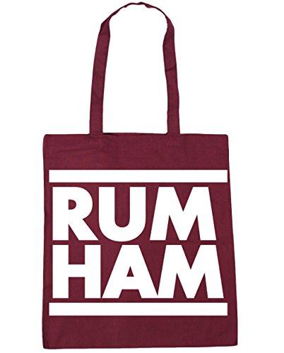 HippoWarehouse Rum Ham (Ron Jamón) Bolso de Playa Bolsa Compra Con Asas para gimnasio 42cm x 38cm 10 litros capacidad Granate
