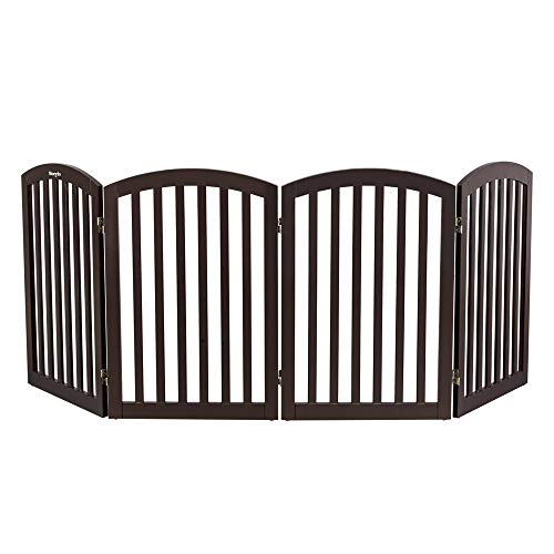Bonnlo Wooden Folding Pet Gate Freestanding Barrier for Dogs Cats 4 Panels Doggy Kitty Safety Fence | Fully Assembled | Expands Up to 82″ Wide, 30″ High | Dark Brown