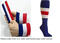 1 Large SET Blue White Red Headband Wristband Sports Athletic Terry Cotton Cloth Sweatband Red White Blue