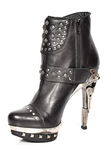 New Rock Womens Gothic Biker Style Ankle Boots Black Real Leather Stiletto Heel Shoes ts5A4A