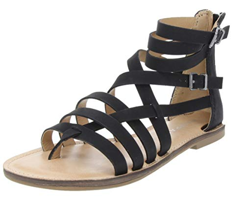 - Rampage Women's Maddy Sandal Strappy Gladiator Demi Wedge with Buckle Black 7.5