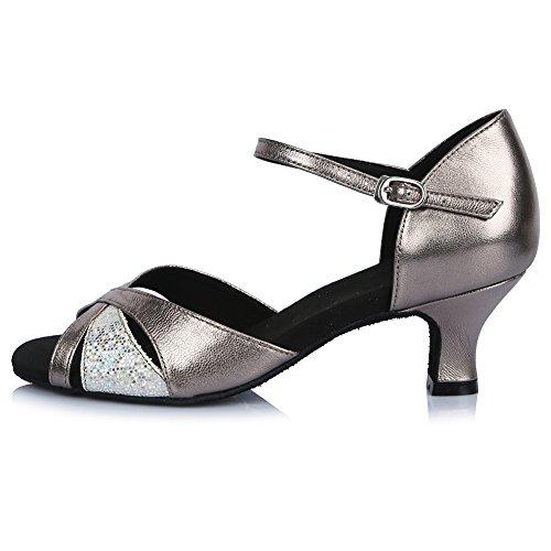 HROYL Zapatos de baile/Zapatos latinos de satén mujeres ES-4240 Gris