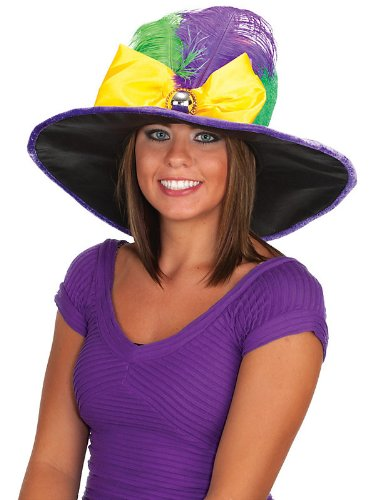 Jacobson Hat Company Women's Mardi Gras Hat with Bow Tie and Feathers, Multi, One Size