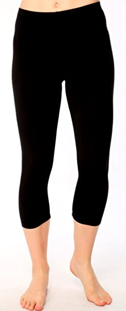 0123bca84f2dba Image Unavailable. Image not available for. Color: Womens Dance Combed  Cotton Basics Mid Calf Legging in Black ...