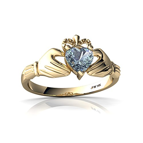 14kt Yellow Gold Aquamarine 5mm Heart Claddagh Ring - Size ()