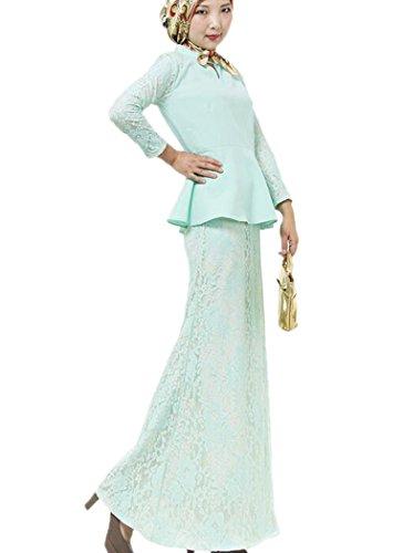 Aro Islamic Musulmana Lora Vestito Donne Verde tf8qfwx0