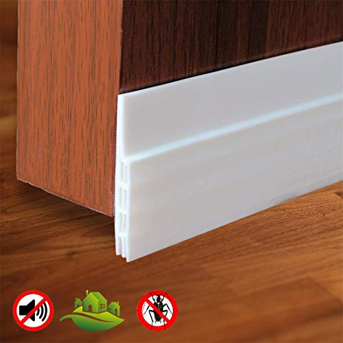 Energy Saver Self Adhesive Strong Under Door Silicone Sweep WeatherStripping Weatherproof Door Bottom Seal Strip Insulation Draft Stopper Noise Dustproof,2 Width X 39 with+Adhesion Promoter(1PCS)