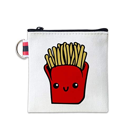 - Cartoon French Fries Canvas Coin Purse Cash Bag Small Zipper Purse Wallets Mini Money Bag Change Pouch Key Holder Double Sides Printing