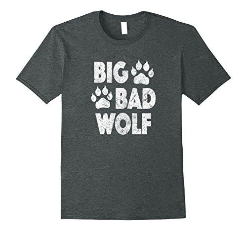 Dark Print Costumes (Mens Big Bad Wolf Halloween Costume Paw Print T Shirt XL Dark Heather)