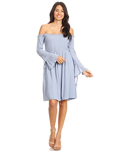 - Anna-Kaci Womens Smocked Bodice Long Sleeve Off Shoulder Knee Length Tunic Dress, Blue, Medium