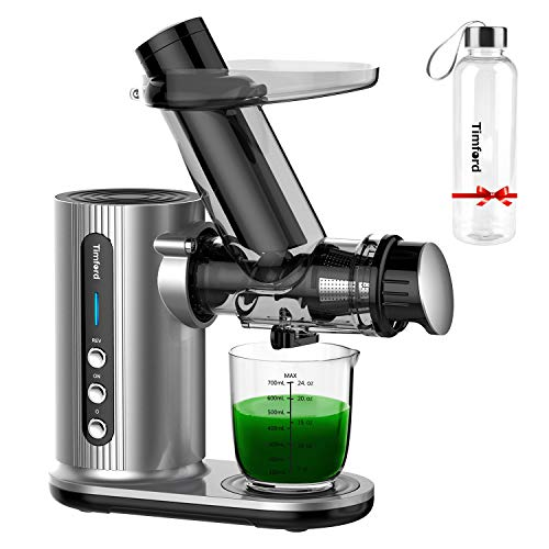 Juicer Machines for Vegetable and Fruit with Large Feed Chute, Slow Masticating Juicer with Bottle, Cold Press Juicer with Brush Easy Clean, Sliver