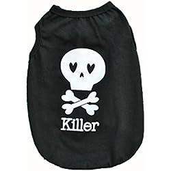 Voberry Small Dog Shirt, Pet Dog Cat Puppy Clothes Funny Killer Dog Shirt Costume (XS, Black)