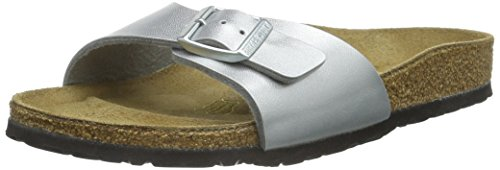 Birkenstock MADRID Ladies Buckle Mule Sandals Silver 42 (Mule Sandals Buckle)