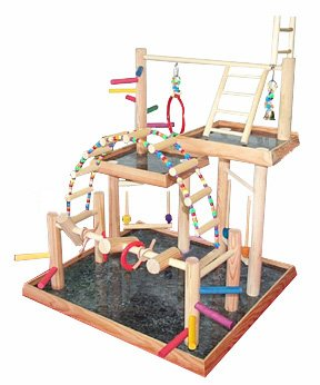 BirdsComfort Small Parrot Play Gym, Bird Activity Center, Wood Tabletop Play Station for Birds, Base: 21'' x 20'' , Overall Height: 28'' - 3 levels by Bird Gyms