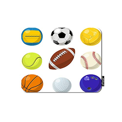oFloral Sport Ball Mouse Pad Gaming Mouse Pad Football Basketball Volleyball Tennis Rugby Game Equipment Decorative Mousepad Rubber Base Home Decor for Computers Laptop Office 7.9X9.5 Inch (Best Volleyball Pc Game)