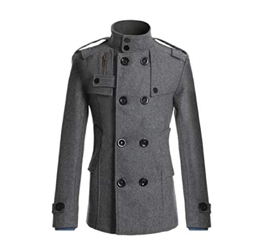 Long Breasted Winter Down Fall Mid Double Turn Grey Outwear RkBaoye Collar Men UI1wAWY