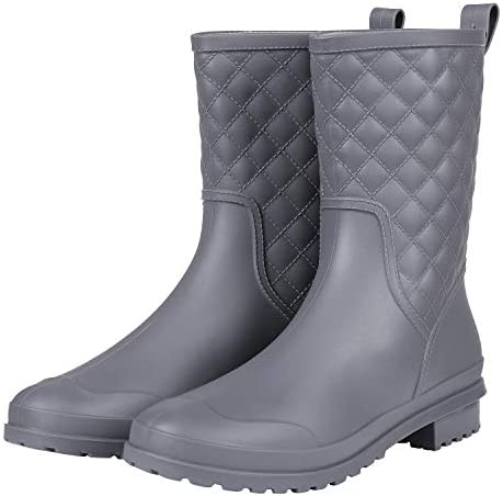 Women s Mid Calf Rain Boots Waterproof Rubber Booties Garden Shoes