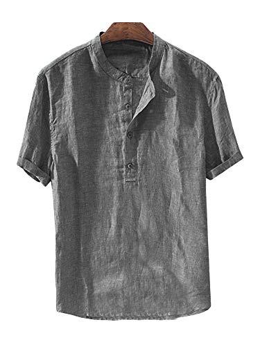 Mens Linen Henley Shirt Casual Short Sleeve T Shirt Pullovers Tees Retro Frog Button Cotton Shirts Beach Tops (X-Large, E-Dark Grey)