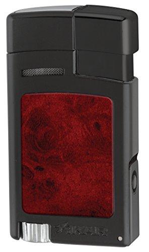 Xikar Forte Houndstooth Soft Flame Lighter (Black w/Burl Inserts)