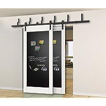 5.5ft Bypass Sliding Barn Wood Door Hardware Interior Sliding Door Black Rustic Sliding Track Kit (5.5FT-bypass kit)
