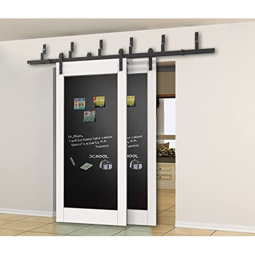 6FT Bypass Sliding Barn Wood Door Hardware Interior Sliding Door Black  Rustic Sliding Track Kit (