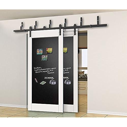DIYHD 5.5ft Bypass Sliding Barn Wood Door Hardware Interior Sliding Door  Black Rustic Sliding Track Kit (5.5FT Bypass Kit)