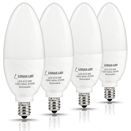 LOHAS Dimmable LED Candelabra Bulb, 75 Watt Light Bulbs Equivalent E12 Base, 8W LED Warm Light White 2700K Candle Shape, 120V Energy Saving Home Lighting for Kitchen, Dinning Room, Pack of 4